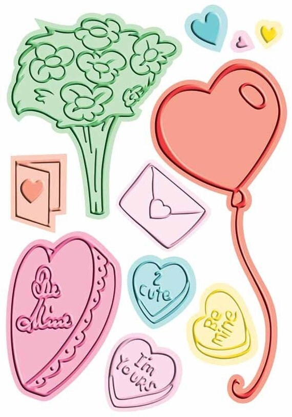 Cuttlebug Valentine Love Always A2 Disney Combo Embossing and Die Set