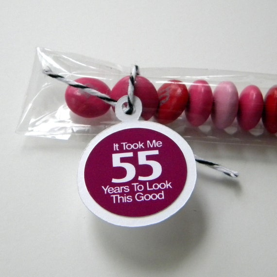 55th Birthday Party Favors - It Took Me 55 Years to Look This Good, Set of 12 Candy Treat Bags, White, Plum