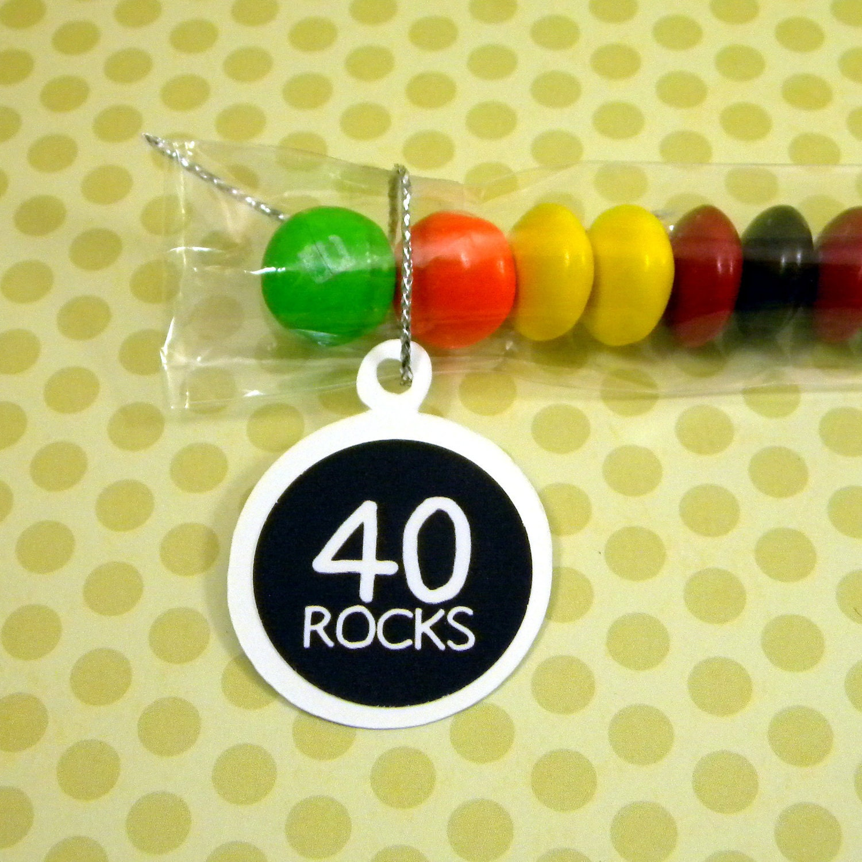 40th Birthday Candy Treat Bag Favors 40 Rocks Set Of 12