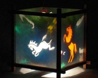 Paper Lanterns,Rotationg Lamp, Decorative Lantern, Spinning Lamp, Small Lamp, Kids Night Light, Dancing Horse Harmony Lantern