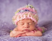 Baby Hat, Newborn Baby Hat, Knit Baby Hat, Stocking Hat, Baby Photo Prop, Baby Girl Hat