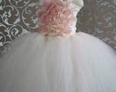 Flower Girl Dress, Tutu Dress, Girls Dress, Ivory dress, Toddler dress, Baby Photo Prop, in Blush Pink and Ivory, Flower Top, Tutu Dress
