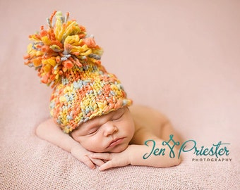 Baby Hat, Newborn Baby Hat, Pom Pom Newborn Baby Hat, Newborn Baby Hat, Newborn Photo Prop, Hand Knit Baby Hat