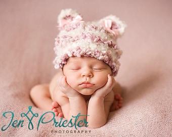 SALE Baby Hat, Baby Girl Hat, Newborn Photo Prop, Photography Prop, Newborn Knit Hat, Baby Hat