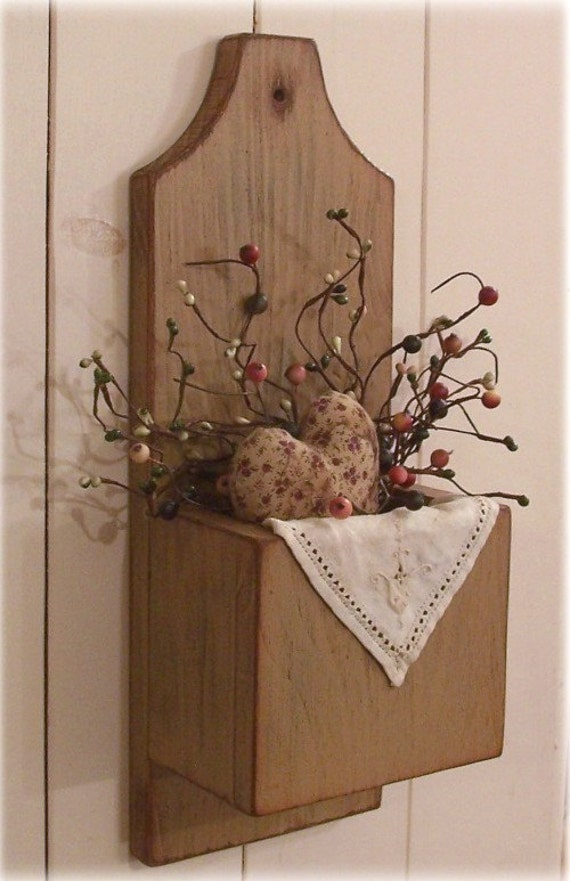 Primitive Door Box Wall Pocket Cubby Box Candle Keep