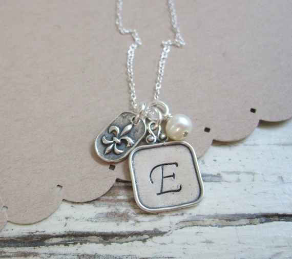 Initially Me and Fleur de Lis ..... Personalized Necklace ... Initial Jewelry ... Hand Stamped Initial Necklace ... Square Raised Edge Charm
