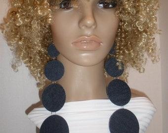 Attractive Long Dangling Denim Fabric Earrings, Ladies Earrings, Women Earrings, Fashion Earrings