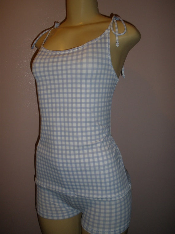 2 Piece Adorable Light Blue and White Plaid Print Swim Suit Top and Shorts Set, Women Swim Suit, Size Medium