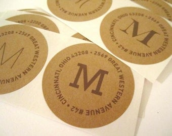 Return Address Stickers // Custom, Monogram, Wedding, Party Invitations, Initial, Kraft, Label, Round Label, Thank You, Modern, Rustic