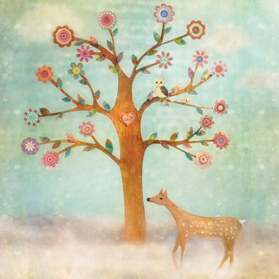 Children Decor, Kids Wall Art, Baby Room Decor, Nursery Decor, Art Print on Wood, Deer and Owl Animal Print