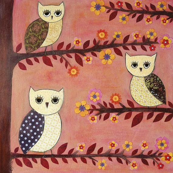 Nursery wall art, baby nursery decor, nursery print, Kids art, Owl painting, Animal print