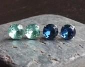 Aquamarine and navy stud earrings, blue glass jewel post stud earrings, set of two pairs, estate style earrings, bridal earrings