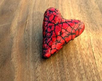 Paper Mache Pin: Handsculpted Red Heart Shaped Crackled Papier Mache Brooch, Paper Heart