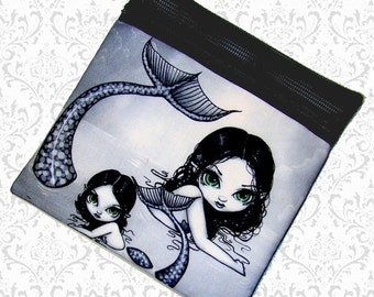 Mermaid Mother child makeup pouch, Jasmine Becket-Griffith, zippered pouch, art supply bag, wristlet, travel bag, school supply bag