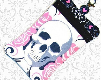 Skull roses cell phone bag 3 colors travel bag pink blue or brown roses, essentials bag, gadget case, small purse wristlet soft phone case