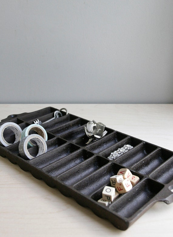 cast iron pan / repurposed organizer
