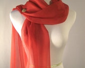 Valentine Scarf - Evening Wrap - Holiday Scarf - Extra Long Red Silky Chiffon