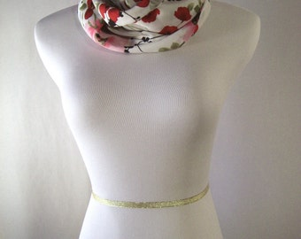 Infinity Scarf - Waterfall Scarf - White Red Poppy with Black Olive Floral Pattern - Silky Satin Peachskin - Long Cowl