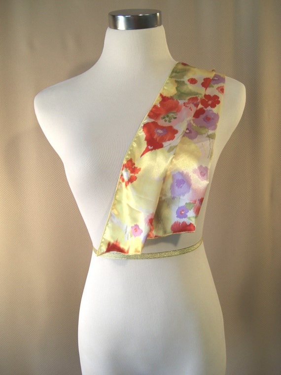 Ponytail Scarf - Headband - Golden Yellow Floral