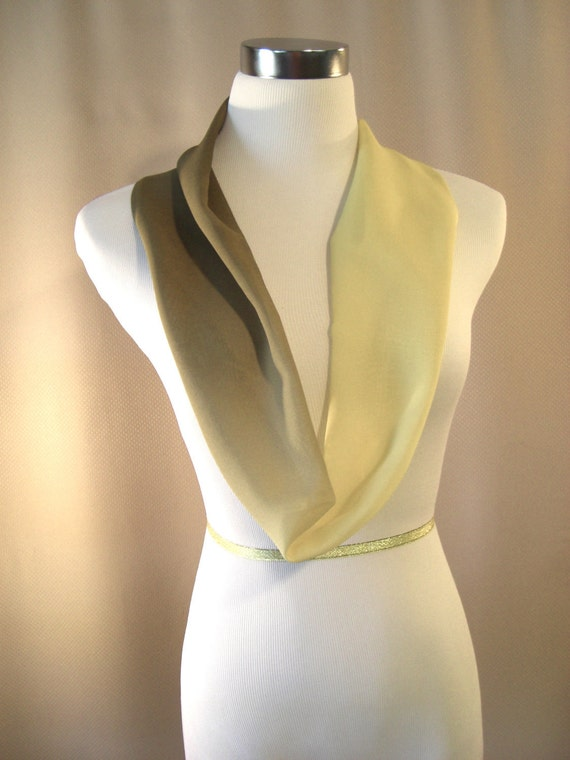 Cowl - Short Length Infinity Scarf -  Variegated Antique Gold Brown Chiffon