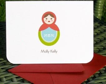 Russian nesting doll stationery, Matryoshka doll stationery, childrens custom stationery, thank you cards, custom note cards, nesting doll