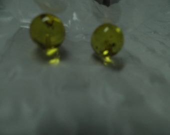 Natural Honey Amber Spheres - pre-1/2-drilled for posts - Round Genuine Organic Amber Beads