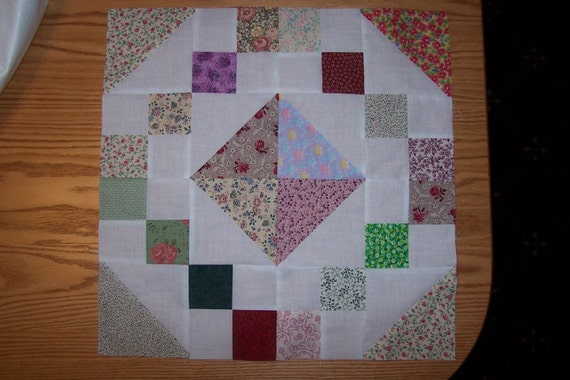 Jewel Box Quilt Blocks - Set of 12 - 16 1/2 inches