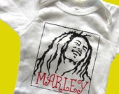 Hand Painted Bob Marley Baby Bodysuit or Kid's T-Shirt (pick your size) Reggae - One Love - hippie baby