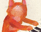 Cat playing piano - ginger music cat blank greeting card