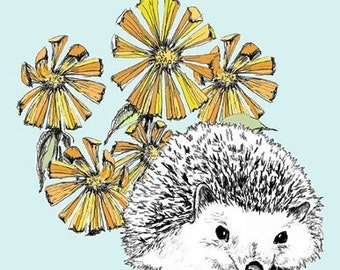 Hedgehog Art Print, Hedgehog Drawing, Hedgehog Illustration - A Hedgehog in Our Flowers Illustration