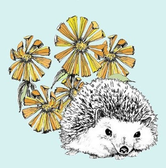 A Hedgehog in Our Flowers Illustration - Hedgehog Art Print