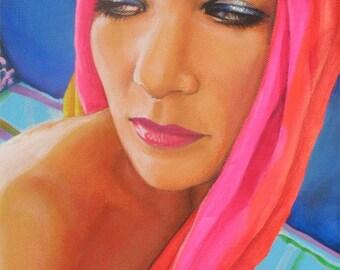 Neon scarf original painting