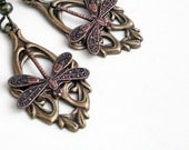 Copper and Bronze Dragonflies - Dangle Earrings