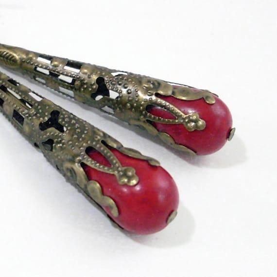 Red Howlite Drop Earrings Wrapped in Bronze