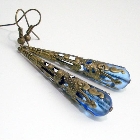Pale Blue Glass Drop Earrings Wrapped in Bronze Filigree