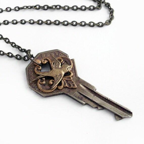 Freedom Key - Recycled Key Pendant Necklace Jewelry