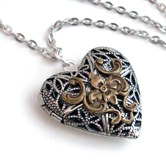 Silver and Bronze Filigree Heart Scent Locket Necklace Jewelry
