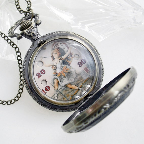 Circus Girl... Hand Held Dexterity Game in Pocket Watch case - Pendant Jewelry Necklace
