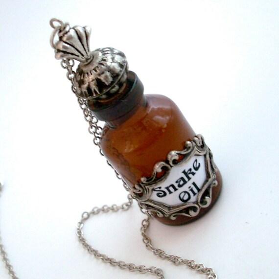 Snake Oil -  Bottle Pendant Necklace Handmade Jewelry