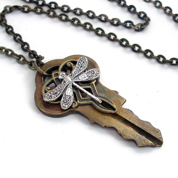 Recycled Dragonfly Key Pendant Necklace Jewelry