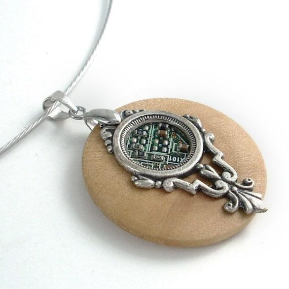 Wood Circuit Board Necklace - Industrial Techno Geek Steampunk Handmade Unisex Jewelry