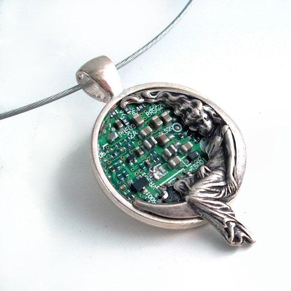 Art Nouveau Circuit Necklace - Industrial Techno Geek Steampunk Handmade Jewelry Pendant