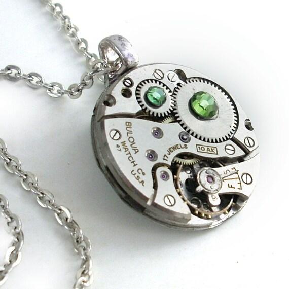 Peridot Swarovski Crystal Necklace - Steampunk Jewelry - Clockwork Art Jewelry