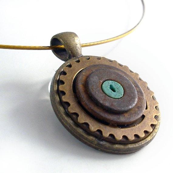 Heavy Metal Steampunk Necklace - Industrial Techno Geek Handmade Jewelry