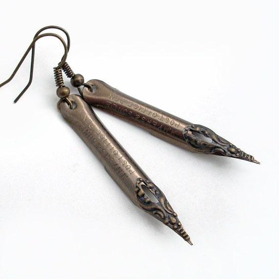 Dear John - Vintage Pen Nib Earrings - Intricate Bronze on Steel  - Vintage Pen Nib Jewelry