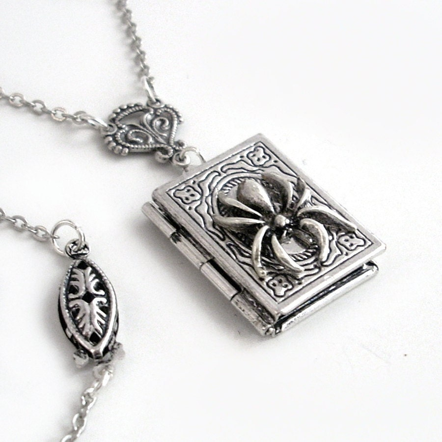bd9c1db6550cb4 ... Book Locket: Silver Spider Book Locket Necklace Jewelry The Widow's