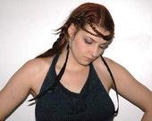 Feather Earrings Long  Raven Black