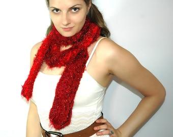 Fuzzy Soft Red Chaos Yarn Scarf