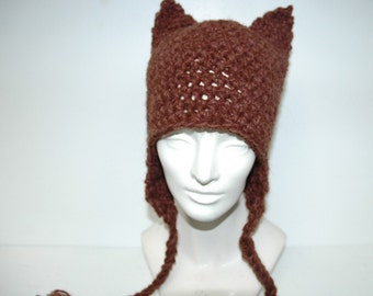 Brown Kitten Ear Ear Flap Hat