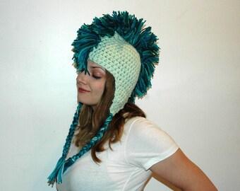 SeaFoam Mermaid Teal and Blue Mohawk Hat